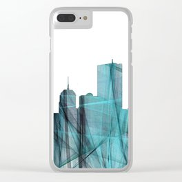 Boston Skyline - Turquoise Storm Clear iPhone Case