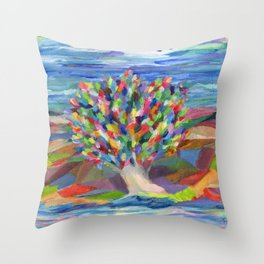 Dream Tree, a colorful acrylic expression of hopes and dreams Throw Pillow