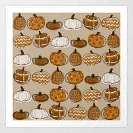 Pumpkin Party in Almond Art Print