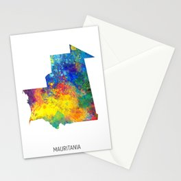 Mauritania Watercolor Map Stationery Cards