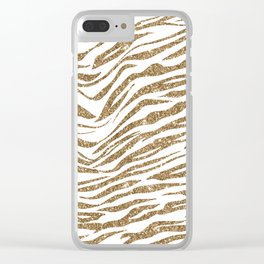 White & Glitter Animal Print Pattern Clear iPhone Case