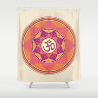 ohm Shower Curtains featuring Ohm by TypicalArtGuy
