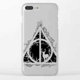 Deathly Hallows - brenches and stag - voids and silhouette (black) - Expecto Patronum | potterheads Clear iPhone Case