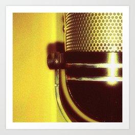Vintage Microphone (yellow) Art Print