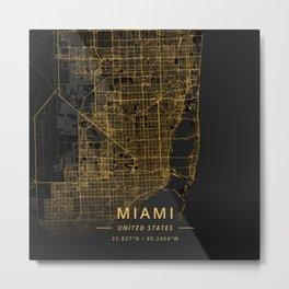 Miami, United States - Gold Metal Print