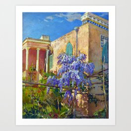 Constantin Alexandrovitch Westchiloff A House with Flowering Trees along the Amalfi Coast of Italy Art Print