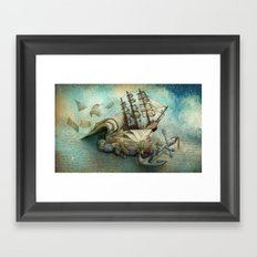 Now I lay me down to read, i travel leagues before i sleep Framed Art Print