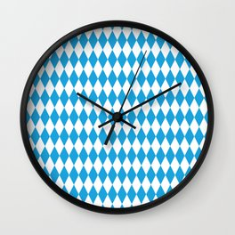Oktoberfest Bavarian Blue and White Large Diagonal Diamond Pattern Wall Clock