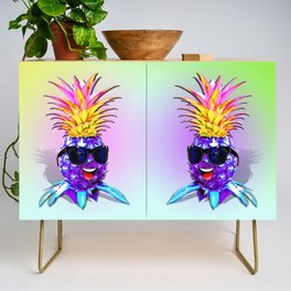 Pineapple Ultraviolet Happy Dude with Sunglasses Credenza