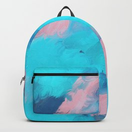 Modern abstract teal pink paint brushstrokes Backpack