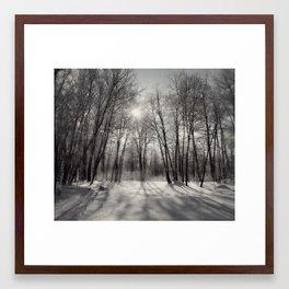 Winter reflection ~ Black & White Framed Art Print
