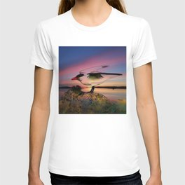 Sunset Take-off - Gull Painted with Sunset Colors T-shirt