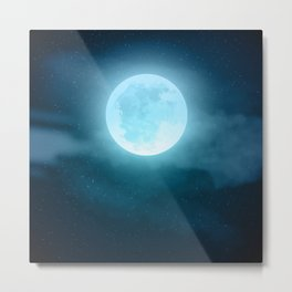 Realistic full moon on night sky with clouds Metal Print