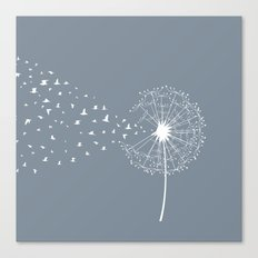 Dandelion and birds Canvas Print