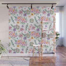 Modern elegant blush pink green lilac watercolor floral Wall Mural