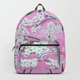 Elegant white pink floral painting pattern Backpack