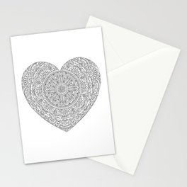 Mandala Heart with Flowers and Leaves for Adult Coloring Stationery Cards
