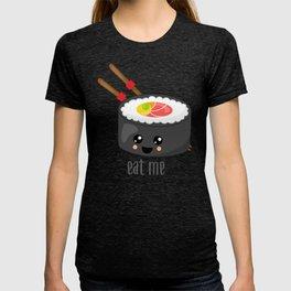 Eat Me in black T-shirt