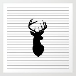 Deer and Black and White Stripes Art Print