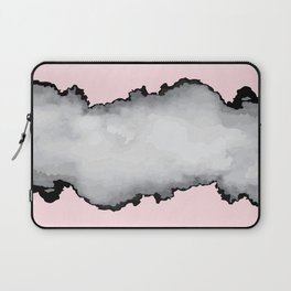 Blush Pink Gray and Black Graphic Cloud Effect Laptop Sleeve