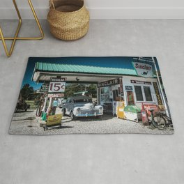 Vintage Gas Station On Route 66 in Ash Grove Missouri Rug