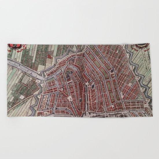 Replica city map of Amsterdam 1652 Beach Towel