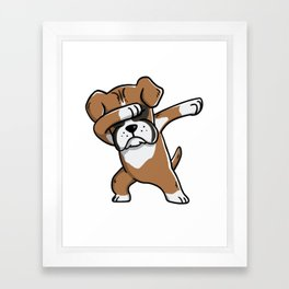 Funny Boxer Dog Dabbing Framed Art Print