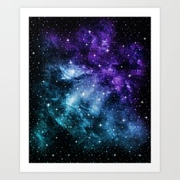 Purple Teal Galaxy Nebula Dream #1 #decor #art #society6 Art Print