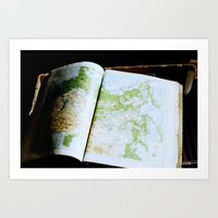 vintage map Art Prints featuring Vintage Map by Katie Yang