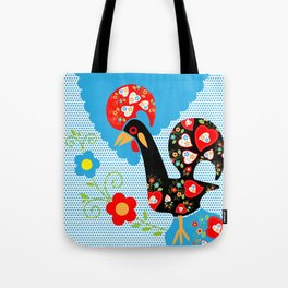 Portuguese Rooster of Luck with blue dots Tote Bag