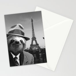 Gentleman Sloth in Paris Stationery Cards