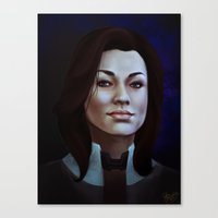 nan lawson Canvas Prints featuring Mass Effect: Miranda Lawson by Ruthie Hammerschlag