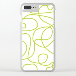Doodle Line Art | Bright Lime Green Lines on White Clear iPhone Case