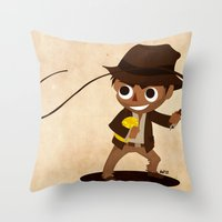 indiana jones Throw Pillows featuring Indiana Jones by Delucienne Maekerr