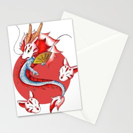 Dragon in the Kitsune Mask Stationery Cards