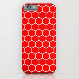 Honeycomb (White & Red Pattern) iPhone Case