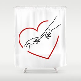 The creation of Adam- The hands of God and Adam within a red heart Shower Curtain