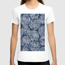 Abstract Navy Watercolor Line Flowers T-shirt