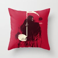 death Throw Pillows featuring Death Note by Tobe Fonseca