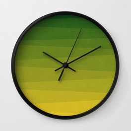Shades of Grass - Line Gradient Pattern between Lime Green and Bright Yellow Wall Clock