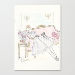 War and Peace Nap with French Bulldog & Kitty : Fashion & Fluffballs Canvas Print