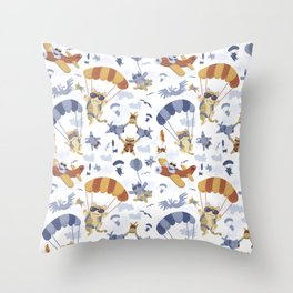 Skydiving Cats Throw Pillow