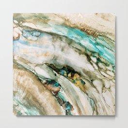 Teal Turquoise Geode Metal Print