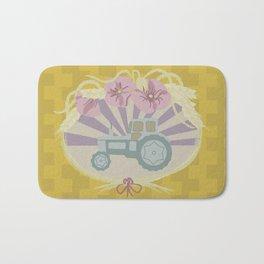 I Heart Tractors - mustard Bath Mat