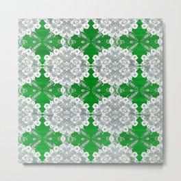 Deep Lime Green Lace Metal Print