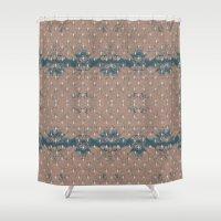 renaissance Shower Curtains featuring Renaissance - Peach by Abbie Clark Designs