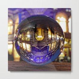 Winter scene through the crystal ball  / Glass Ball Photography Metal Print