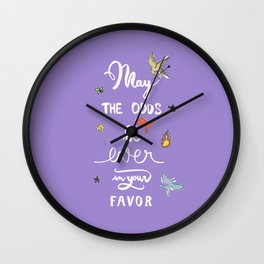 Hunger Game quality calligraphy - black version - purple Wall Clock