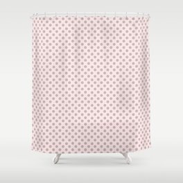 Taupe Polka Dots on Pink Shower Curtain