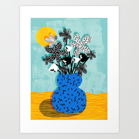 Fave - memphis throwback retro still life flower vase with floral bouquet abstract Art Print